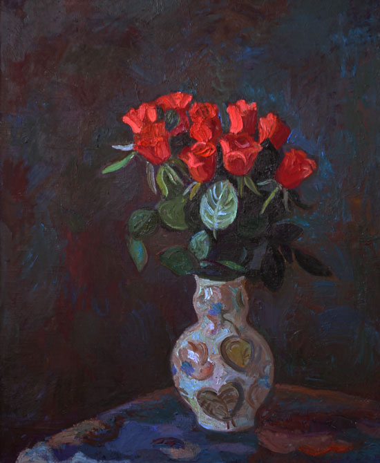 Roses, 60x70, oil on the canvase