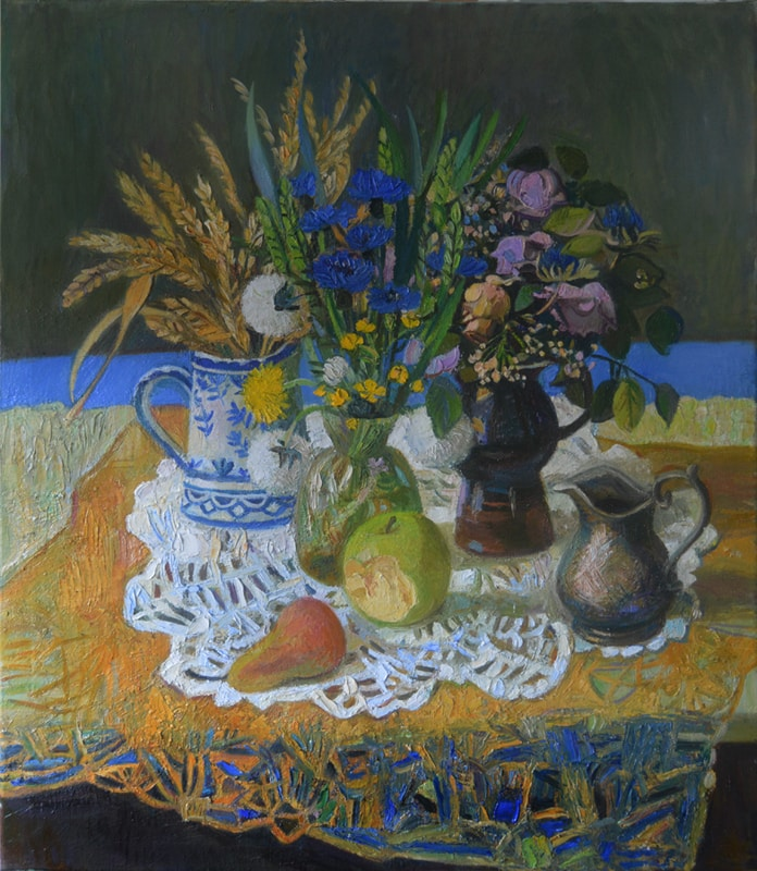Stillife with blue flowers 60x70 oil on the canvase