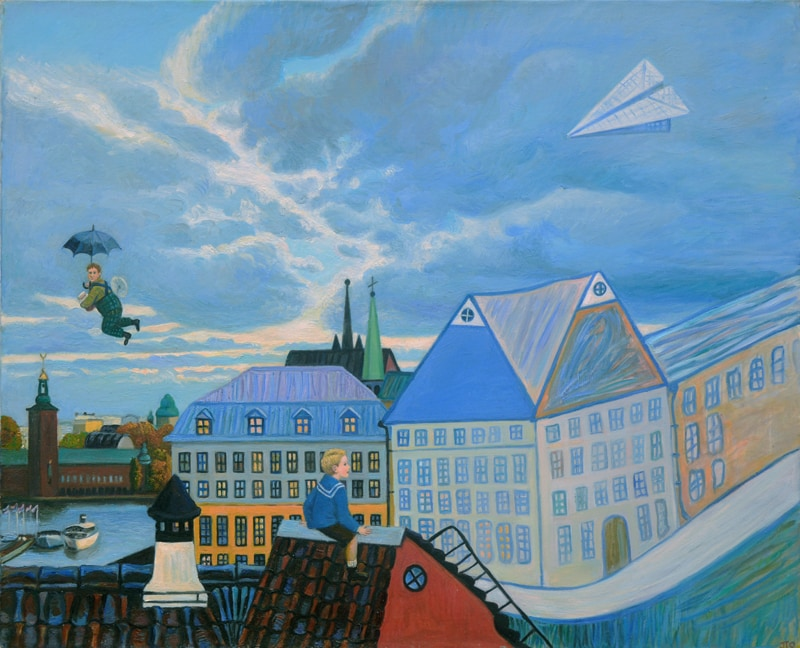 Karlsson flying even in rain, 80x90 , oil on the canvas