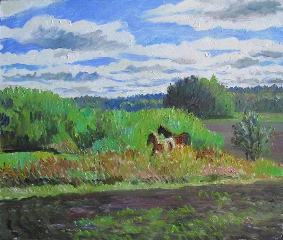 Two horses. Eriksberg  30x40, oil on cartong, in a private collection