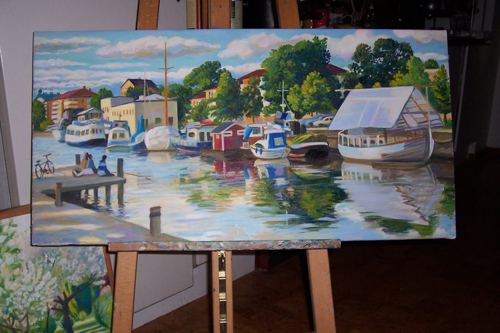 Fyrisån, summer 2013, oil on the canvas, 50x100, in a private collection