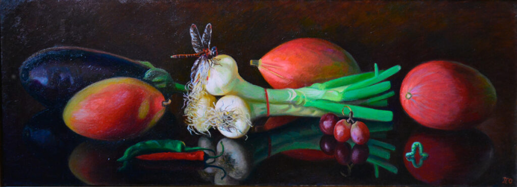 Stillife with onion and mango, 40x90, in a private collection, 2015